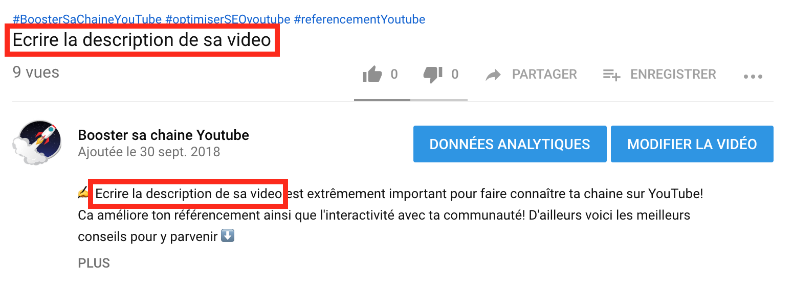 astuce description youtube