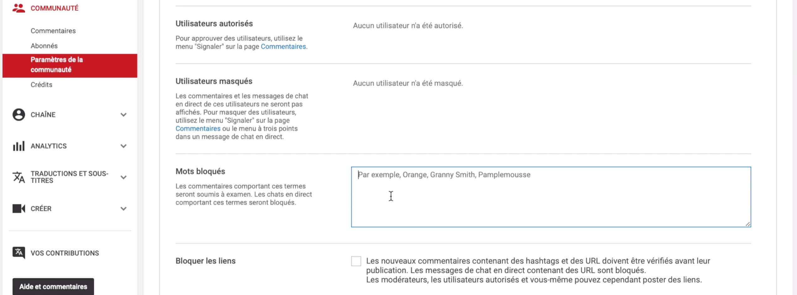 filtrer les spams sur youtube