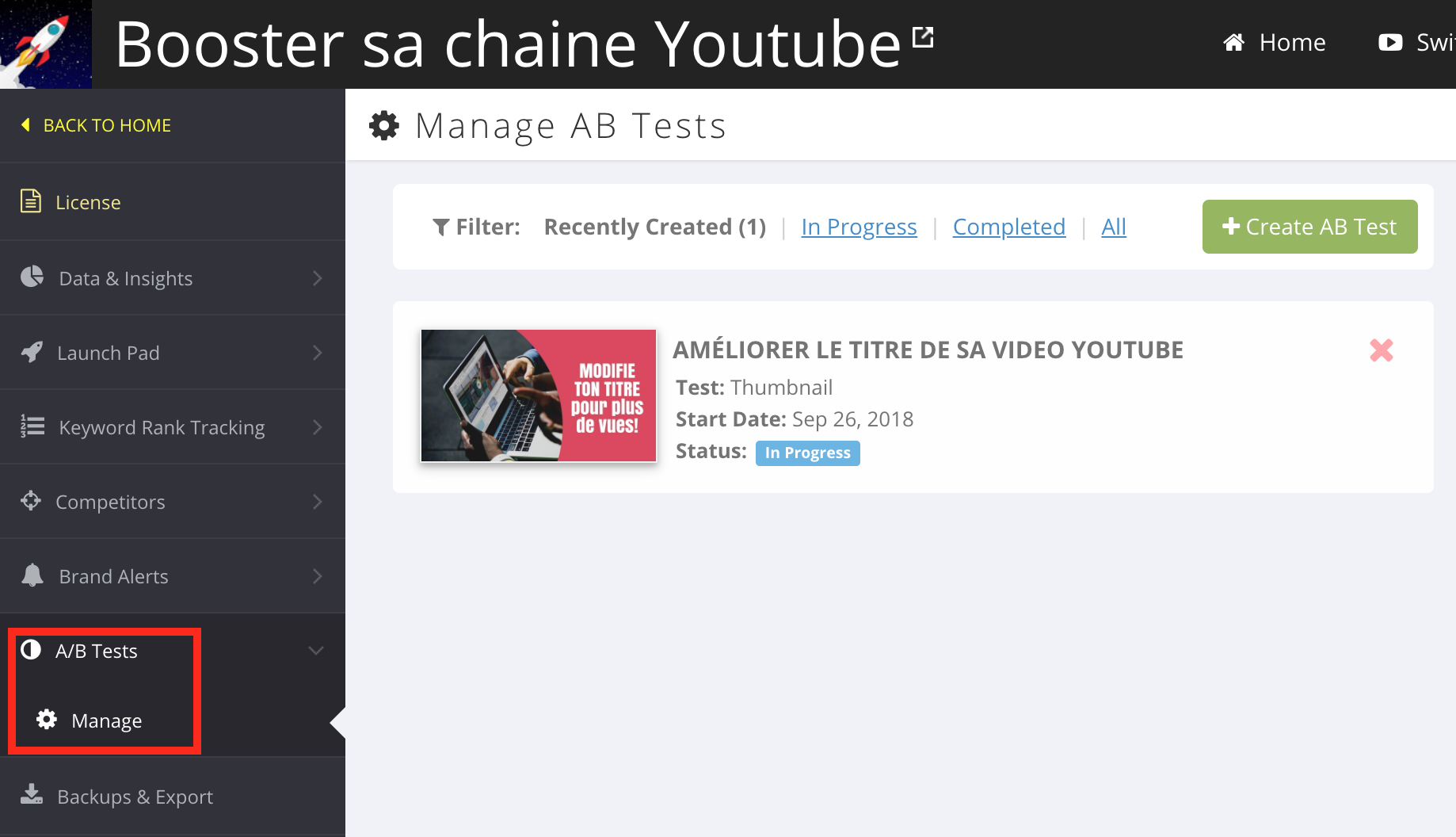 comment creer test ab YouTube