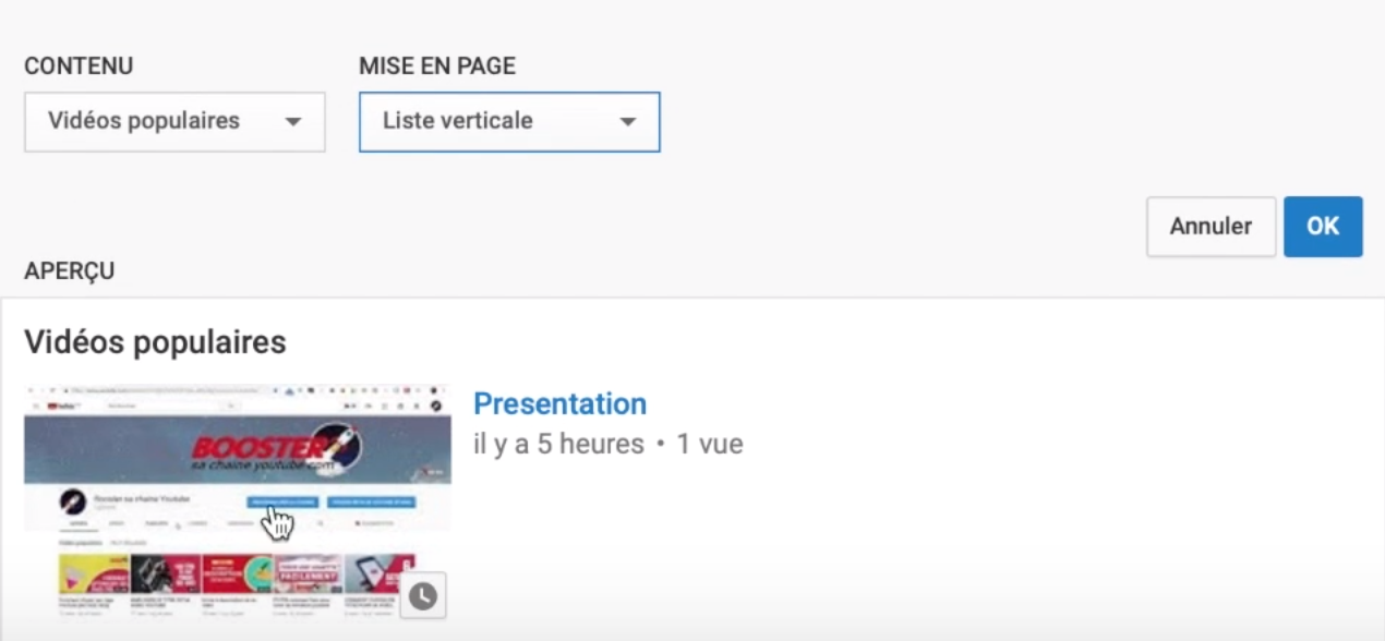 youtube gérer section page accueil