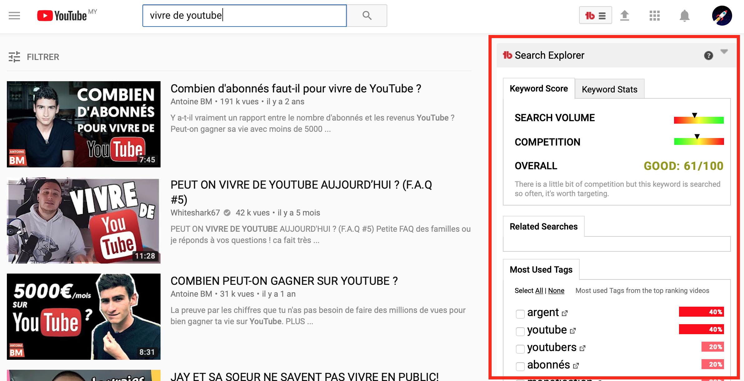 recherche tags youtube