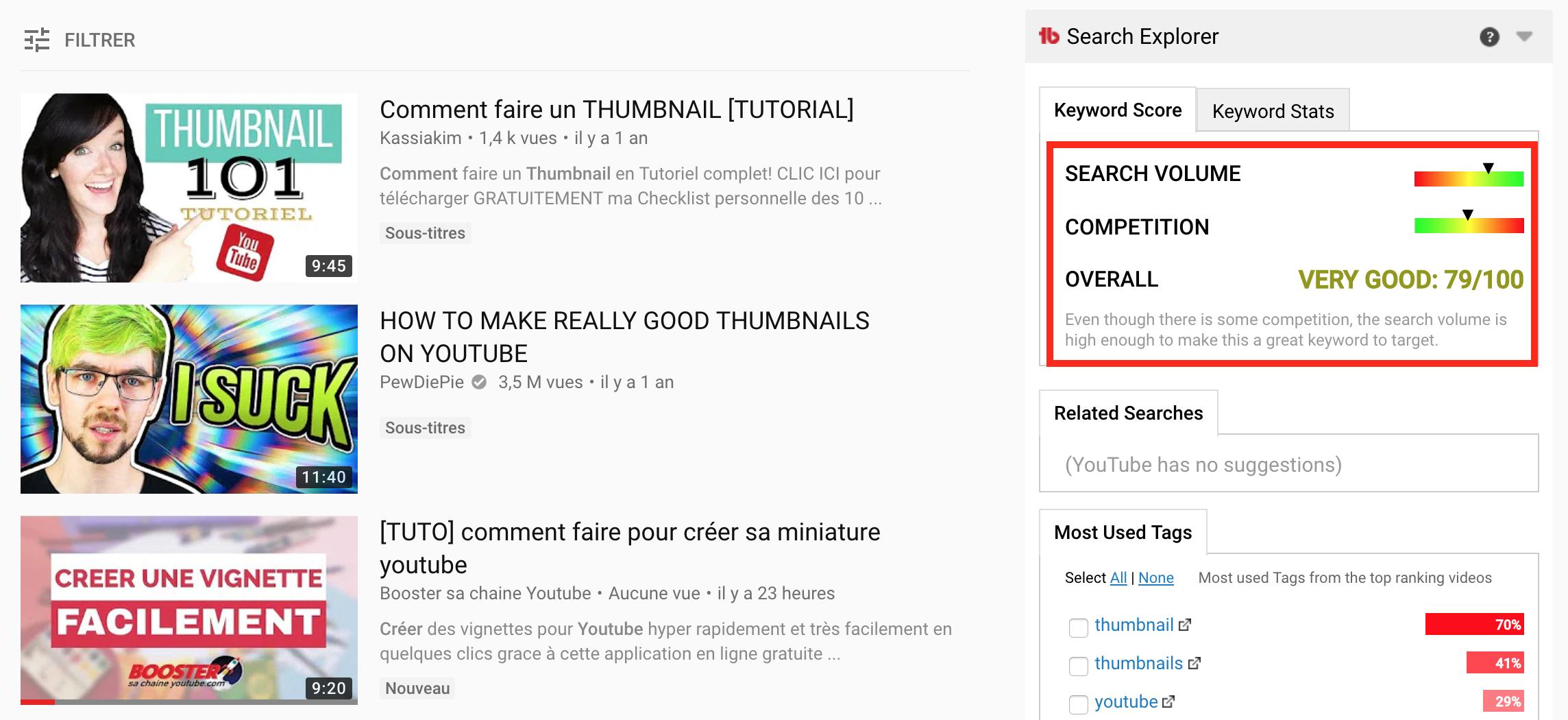 analyse recherche youtube